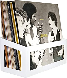 Hudson Hi-Fi Wall Mount Vinyl Record Storage 25-Album Display Holder | White Pearl | One Pack