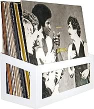 Hudson Hi-Fi Wall Mount Vinyl Record Storage 25-Album Display Holder | White Pearl | One Pack