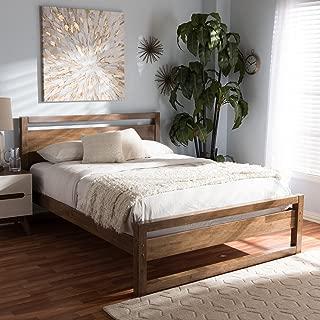 Baxton Studio Torino Mid-Century Modern Solid Walnut Wood Open Frame Style King Size Platform Bed Mid-Century/Walnut Brown/Rubber Wood/Hardwood/LVL/MDF/Poplar/