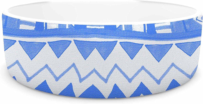 KESS InHouse Vasare NAR Hakuna Matata Azure bluee bluee White Illustration Pet Bowl, 7  Diameter