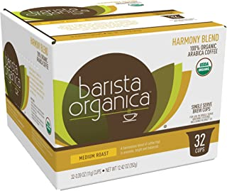 Barista Organica Coffee Compatible with 2.0 Brewers, Harmony Blend, 32 Count