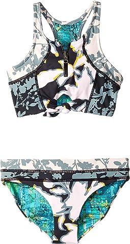 Midnight Tea Party High Neck Reversible Bikini Set (Toddler/Little Kids/Big Kids)