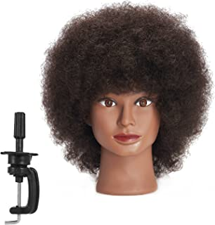 Traininghead 10'' Afro Mannequin Head With 100% Human Hair Training Head Manikin Cosmetology Doll Head For Hairdresser With Clamp Stand (C)