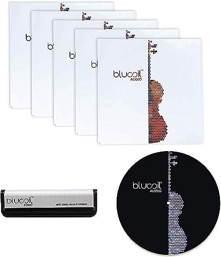 "high quality Blucoil Audio Vinyl Essentials Bundle - Carbon Fiber Anti-Static Vinyl Cleaning Brush, 12"" Felt Turntable Slipmat, and 5-Pack of 12 Premium Inner Sleeves for LP wholesale Vinyl outlet sale Records outlet online sale"