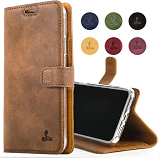 Snakehive iPhone XR Case, Luxury Genuine Leather Wallet with Viewing Stand and Card Slots, Flip Cover Gift Boxed and Handmade in Europe for Apple iPhone XR (Brown)