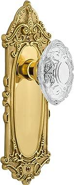 "Nostalgic Warehouse 754784 Plate with Crystal Victorian Knob Passage, Backset Size: 2.375"", Polished Brass"