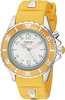 KYBOE! Power Stainless Steel Quartz Watch with Silicone Strap, Yellow, 20 (Model: KY.40-022.15