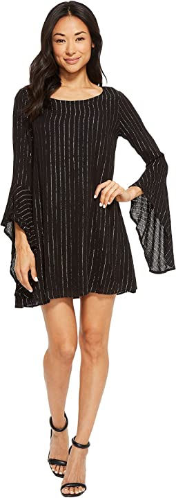 American Rose - Alexa Sparkle Striped Bell Sleeve Dress