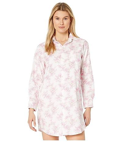 LAUREN Ralph Lauren Classic Woven Long Sleeve His Shirt Sleepshirt (Ivory Print) Women