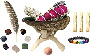 White Sage Smudge Kit - 2 White Sage (One with Rose and Lavender), 3 Palo Santo, Abalone Shell with Natural Wooden Tripod Stand, Chakra Stones, Chakra Bracelet, Feather and Himalayan Salt!