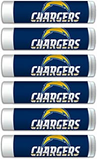 NFL LA Chargers Gifts for Men and Women Premium Lip Balm 6-Pack with SPF 15, Beeswax, Coconut Oil, Aloe Vera. Ideal for Mother's Day, Father's Day, Easter, Stocking Stuffers