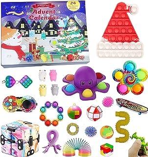 Fidget Toys jul nedräkningskalender, 24 dagars adventskalender sensorisk leksaksset presentförpackning 2021 Push Pop Simpl...