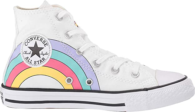 Converse Scarpe Kids Sneaker a Collo Alto Chuck Taylor all Star in Tela Bianca 663994C