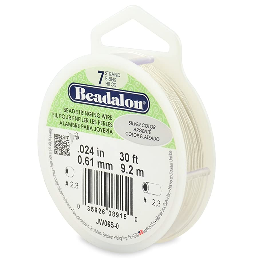 Beadalon 7-Strand Stainless Steel 0.024-Inch Bead Stringing Wire, 30-Feet, Silver Color