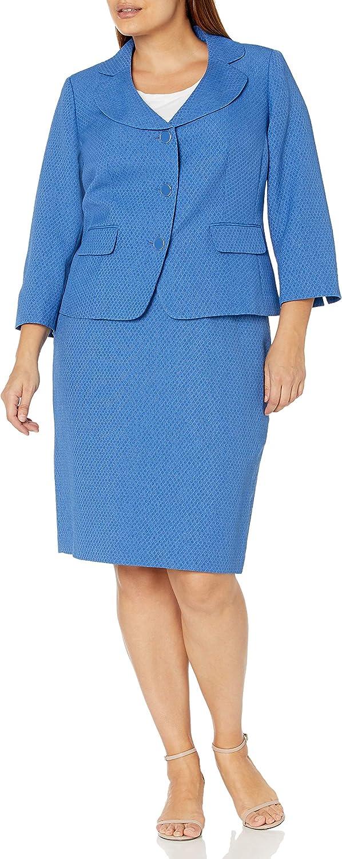 Le Suit Women's Petite 3 Button Notch Collar Flap Pocket Diamond Texture Jacquard Skirt Suit