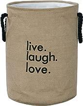 Hokipo Laundry Basket Exquisite 45-Litre European Pattern Folding Jute Round 'Live Laugh Love' Laundry Hamper (Cream)