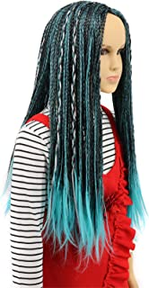 Karlery Child Kids Long Braid Blue and Black Mixed Wig Halloween Cosplay Wig Anime Costume Party Wig