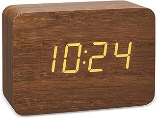 TFA Dostmann Diseño de radio despertador en aspecto de madera de clocco, 60.2549.08, plástico, marrón/naranja