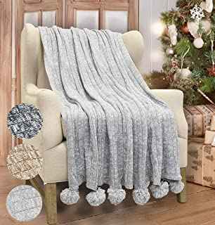 Catalonia Cable Knit Throw Blanket, Reversible Soft Pom Pom Throws Warm Crochet Sweater Blanket with Gift Box for Bed Couch Travelling 60x50 Light Gray