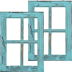 Greenco Wooden Rustic Mount Window Frames Vintage Country Farmhouse Wall Décor-Set of 2-Turquoise, torquise