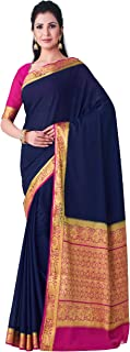 MIMOSA Women's Mysore Silk Crepe Saree With Unstitched Blouse piece (55_Navy Blue)