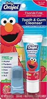 Orajel Baby Elmo Fluoride-Free Tooth & Gum Cleanser with Finger Brush, Fruity Fun, 1 Ounce