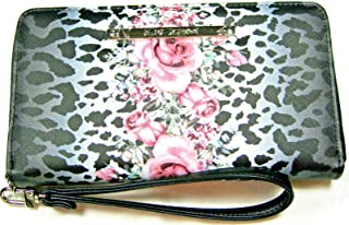 Betsey Johnson Zip Around Floral and Leopard Wristlet Wallet Black and Pink