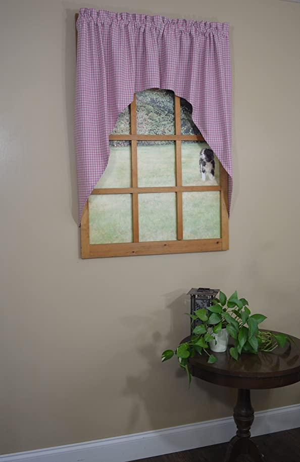 Curtain Chic Oak Bluffs Swag, Raspberry