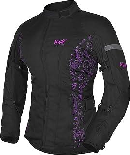 HWK Women`s Motorcycle Jacket For Women Rain Waterproof Moto Riding Ladies Motorbike Jackets CE Armored (Black/Pink, Large)