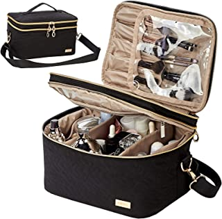 NISHEL Double Layer Travel Makeup Bag with Strap, Large Cosmetic Case Organizer Fits Bottles...