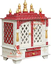 HomeCrafts Wooden Temple/Pooja Mandir for Home with LED Light. (WhiteRed New, Medium 18x12x24 INCH (WxDxH))
