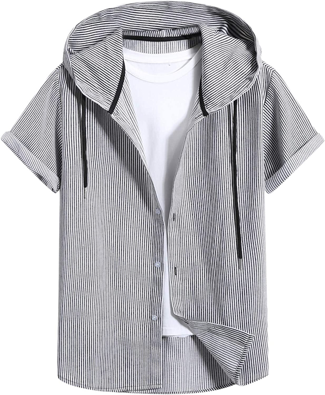 Men Short Sleeve Hooded Plaid Print Shirt Top Spring Summer T-Shirt Slim Casual Button-Down Shirts