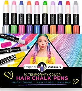 Original Stationery Hair Chalks Set for Girls, 10 Piece Temporary Hair Chalk Colors