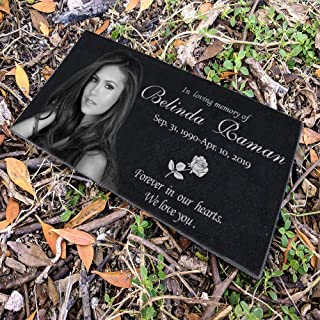 Personalized Human Memorial Stones, Black Granite Memorial Garden Stone Engraved with Human's Photo - Gifts for Someone Who Lost a Loved One (Human style1)