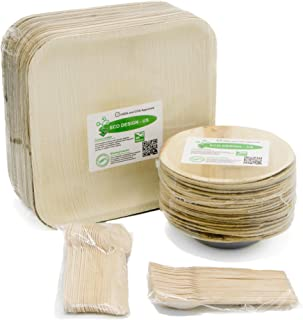 "Party Set of 100 Eco-Friendly Dinnerware - 10"" Palm Leaf Square Dinner Plates (25) & 6"" Bowls (25), Wood Forks(25) & Spoons (25) - Elegant - Disposable - Compostable"