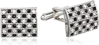 Men's Silver Cuff Link With Black and Clear Crystals