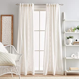 "Peri Home Cut Geo Sheer Cotton Back Tab Window Curtain Panel Pair, 108"", Winter White"