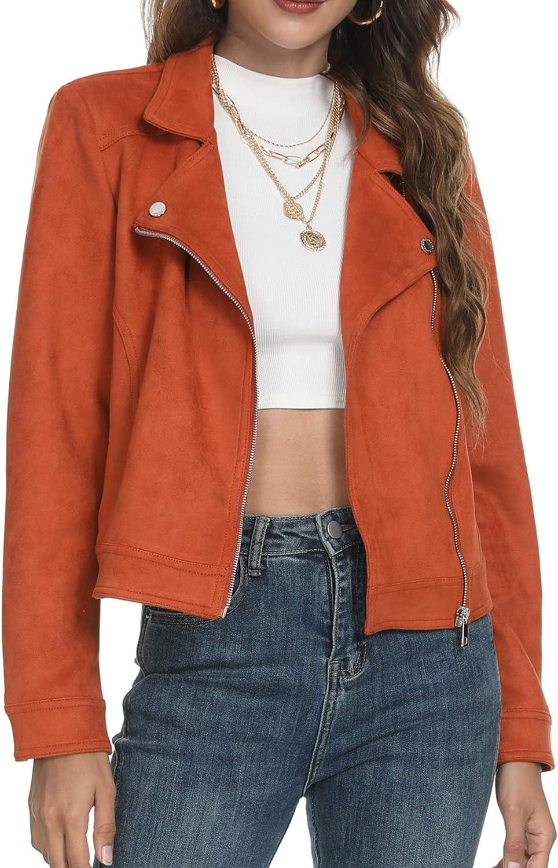 Fahsyee Leather Jacket Women, Black Faux Suede Moto Short Zip Up Moto Biker Outwear Slim Vegan Ladies Coat Plus Size S-XXL