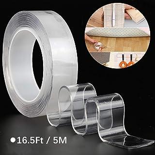 GCOA Cinta Doble Cara Cinta Adhesiva,Nano-no Rastro Lavable Doble Cara Transparente Adhesivo,Doblecara Cintadoble Cara,No Mas Clavos Cint Cina Doble Cara (16.5Ft/5M)