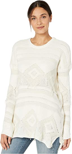 Geo Fringe Cream Knit
