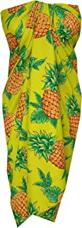 Alvish Sarong 50 Pineapple Leaf Beach Swimsuit Wrap Plus Size Cover up Pareo Yellow