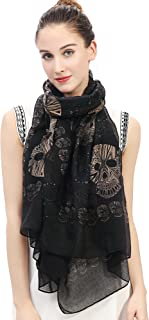 Lina & Lily Multi Color Sugar Skull Print Women's Large Scarf Lightweight