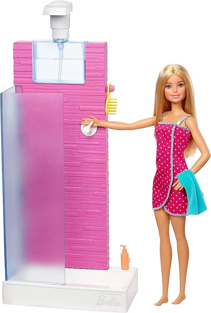 Barbie, playset con doccia, bambola con doccia e accessori FXG51