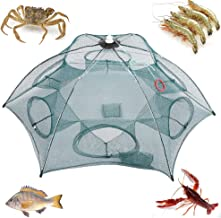 Festnight 4/6/8/10 Hole Automatic Fishing Trap Portable Folding Fishing Net Fish Shrimp Minnow Crab Mesh Trap Cage