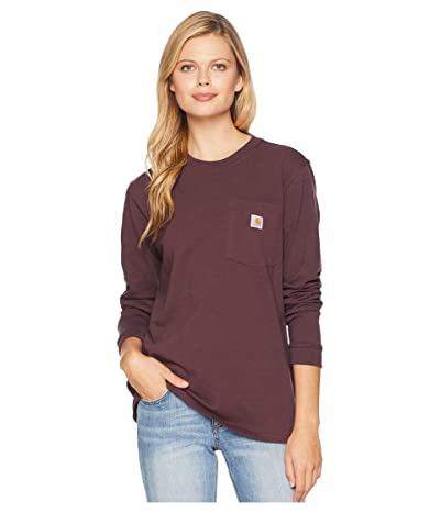 Carhartt WK126 Workwear Pocket Long Sleeve T-Shirt (Deep Wine) Women