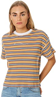 Rpm Women's Ribbed Stripe Tee Crew Neck Short Sleeve
