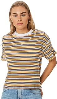 Rpm Women's Ribbed Stripe Tee Crew Neck Short Sleeve