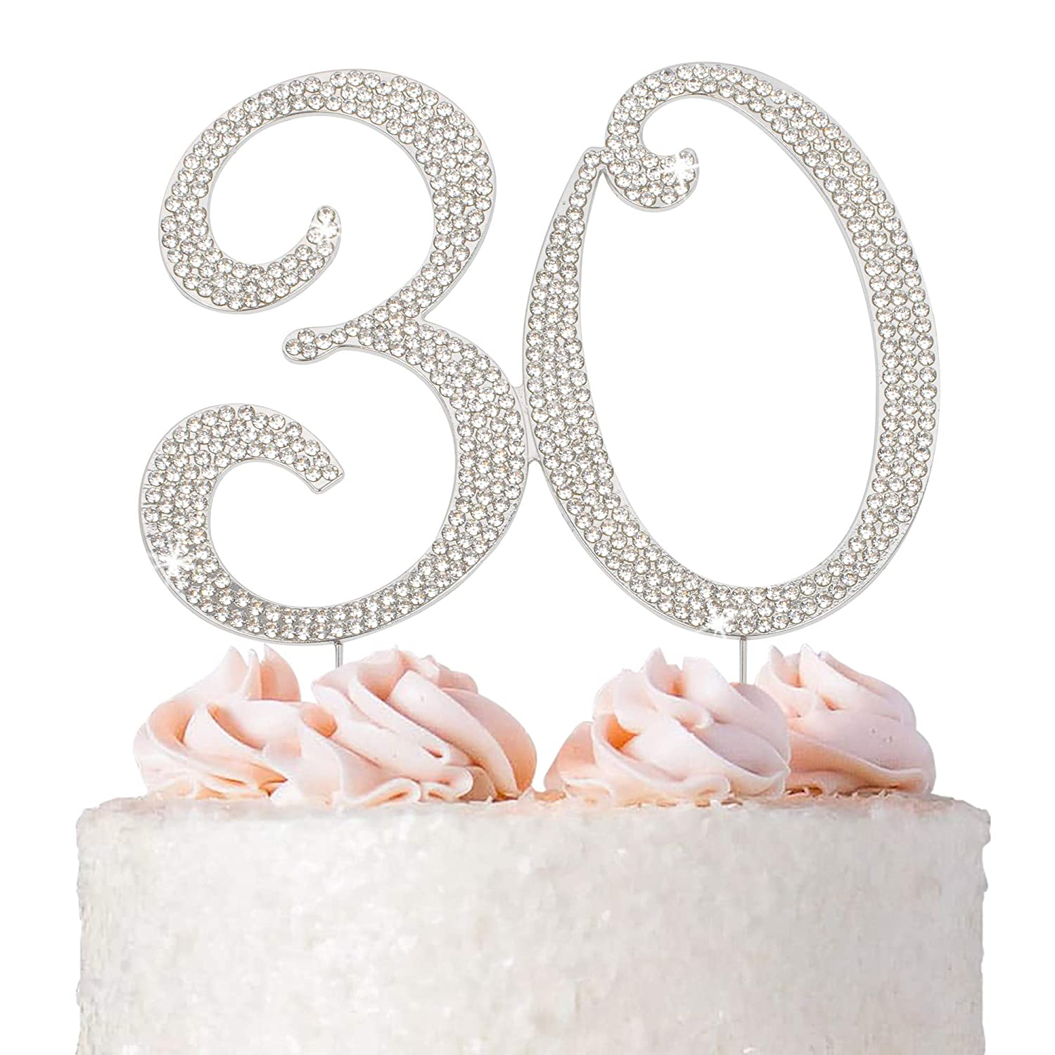 30 Cake Sales for sale Topper - Premium Silver discount Metal Anniver 30th or Birthday
