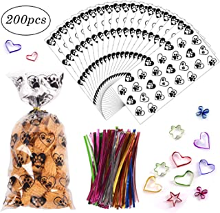 200 Pack Clear Bags Heart Print Cellophane Treat Bags with Twist Ties Exquisite Flat Cello Bag Good for Candies,Bakery, Cookies, Dessert,Pet Treat,Snack Wrapping,Gift Bag Party Favor (5''x10'')