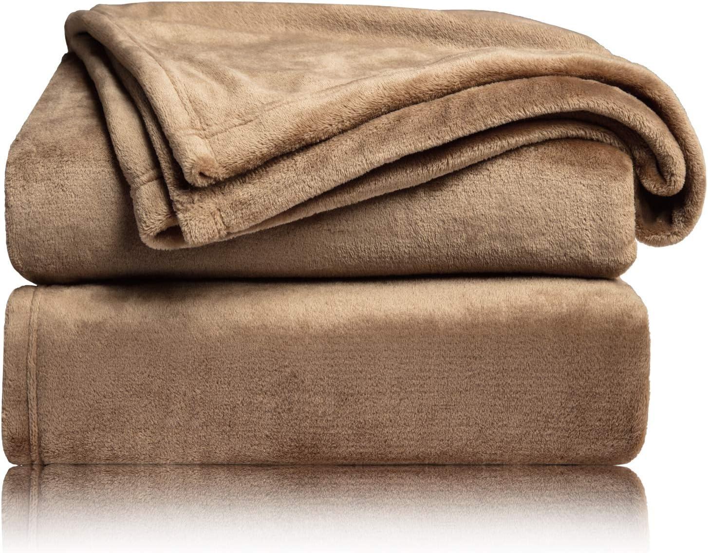 Bedsure Fleece Blanket Throw Size Taupe Lightweight Super Soft Cozy Camel Bed Blankets